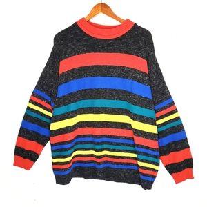Vintage Rainbow Primary Stripe Oversized Sweater